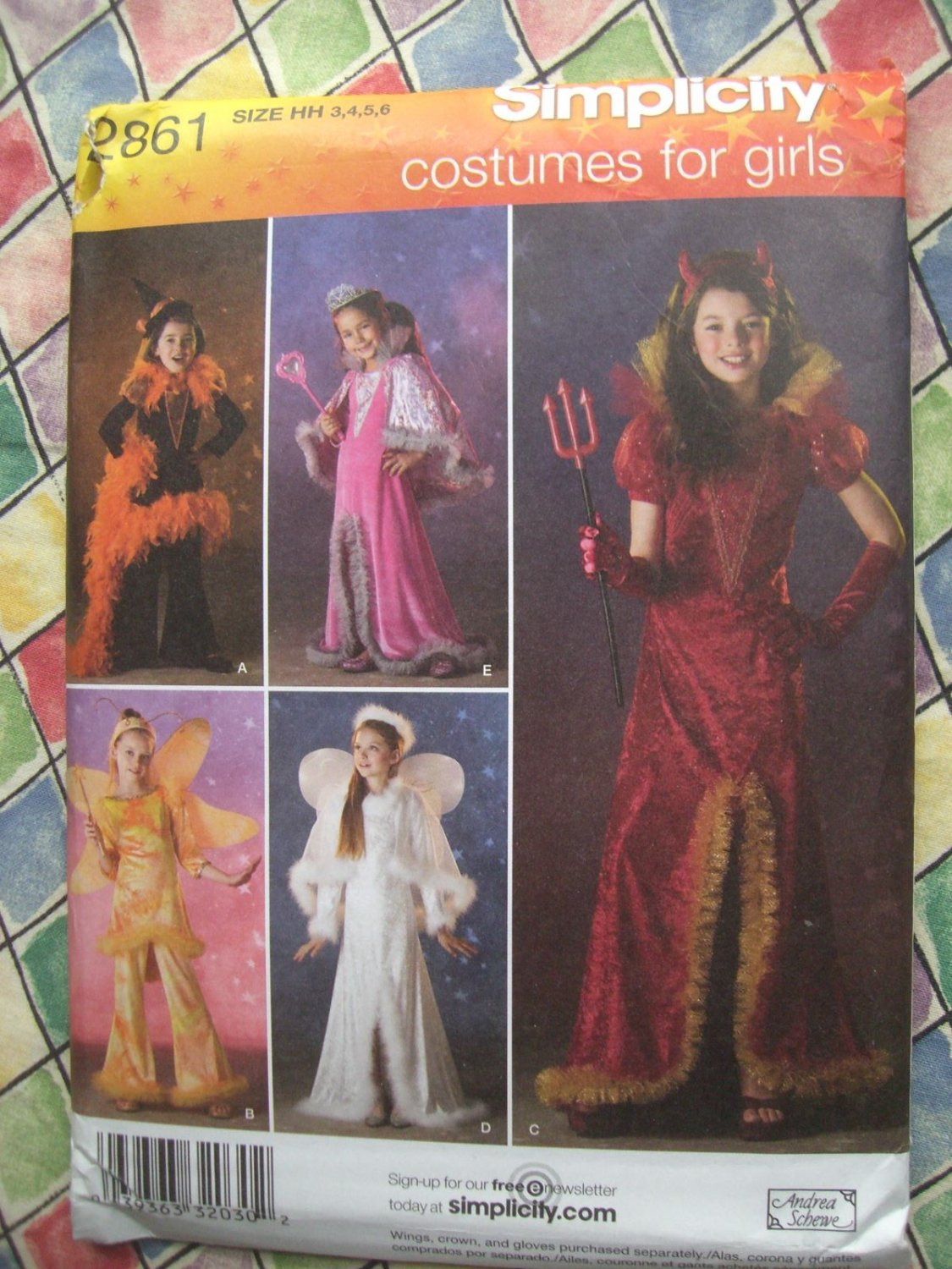 Simplicity Pattern # 2861 UNCUT Girls Costume Witch Angel More! Size 3 4 5 6