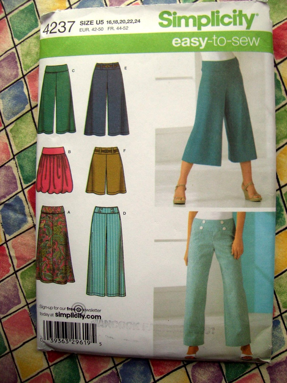 HOLD! Simplicity Pattern # 4237 UNCUT Misses Pants Skirt Size 16 18 20 22 24