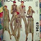 McCalls Pattern # 6724 UNCUT Misses Wardrobe Blazer Skirt Pants Vest  Size 12 Vintage 1979