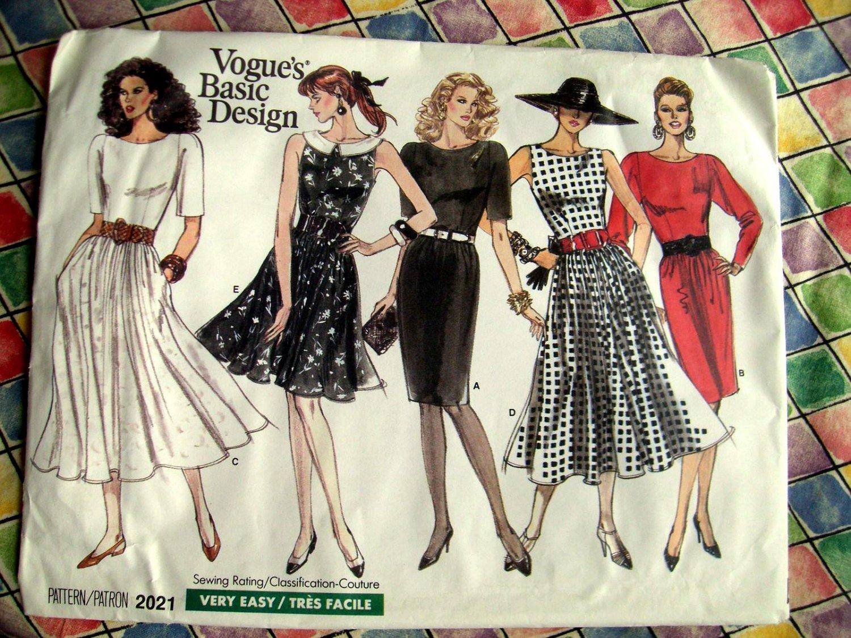 Vogue Pattern # 2021 UNCUT Misses Dress Size 6 8 10