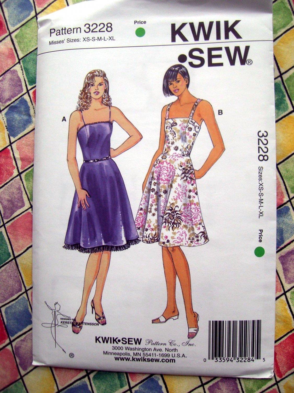 Kwik Sew Pattern # 3228 UNCUT Misses Summer Dress Size XS Small Medium Large XL