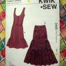Kwik Sew Pattern # 3495 UNCUT Misses Vest Skirt Size XS Small Medium Large XL