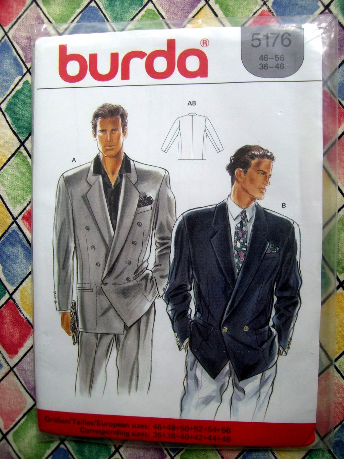 SOLD! Burda Pattern # 5175 UNCUT Mens Double Breasted Blazer Jacket Size Medium Large XL