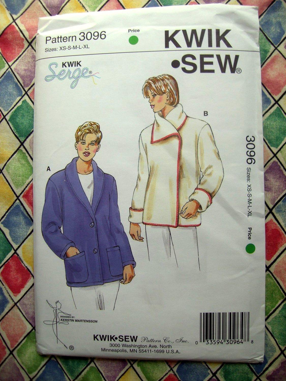 Kwik Sew Pattern # 3096 UNCUT Misses Short Coat Size XS Small Medium Large XL