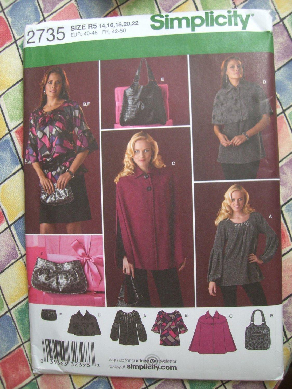 Simplicity Pattern #2735 UNCUT Misses Tunics Bags Cape Size 14 16 18 20 22