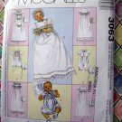 McCalls Pattern # 3063 UNCUT Baby Christening Gown Rompers Bonnets ALL Sizes