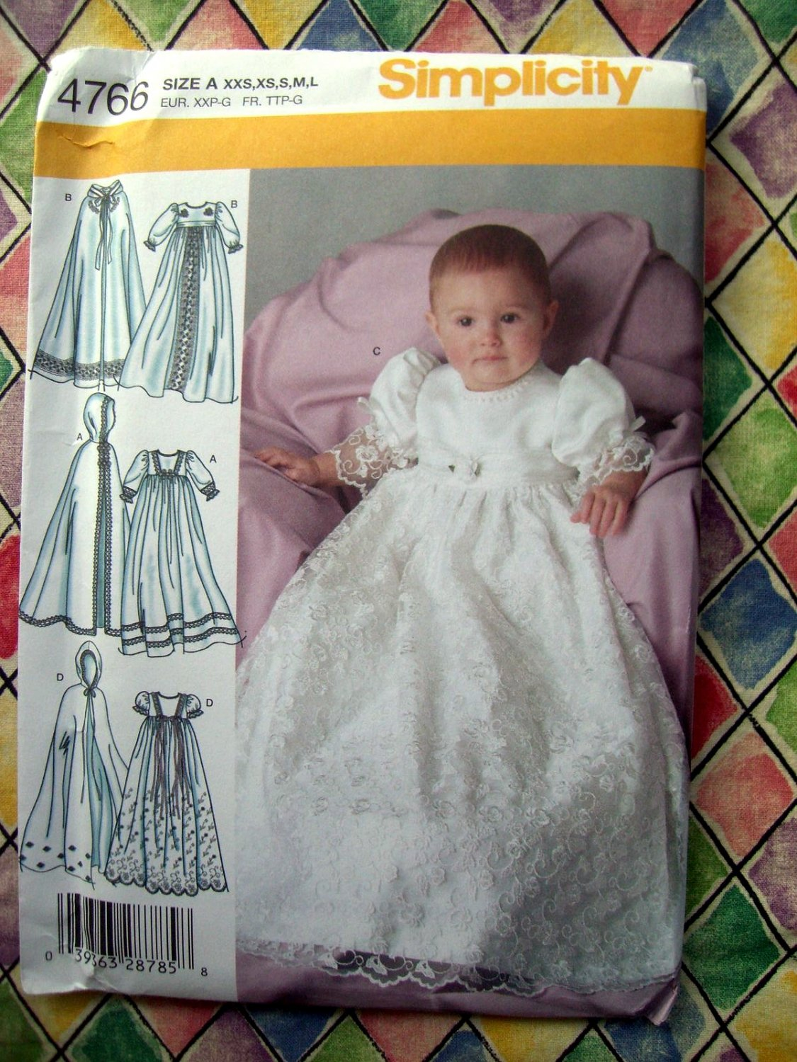 SOLD! Simplicity Pattern # 4766 UNCUT Babys Christening Gown / Dress Cape ALL Sizes XS S M L