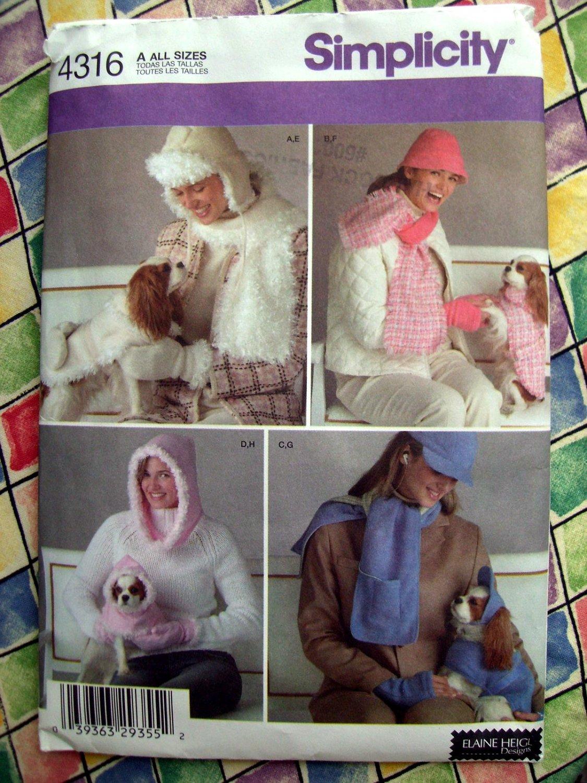 Simplicity Pattern # 4316 UNCUT Misses Hat Scarves Dog Clothes XS Small Medium