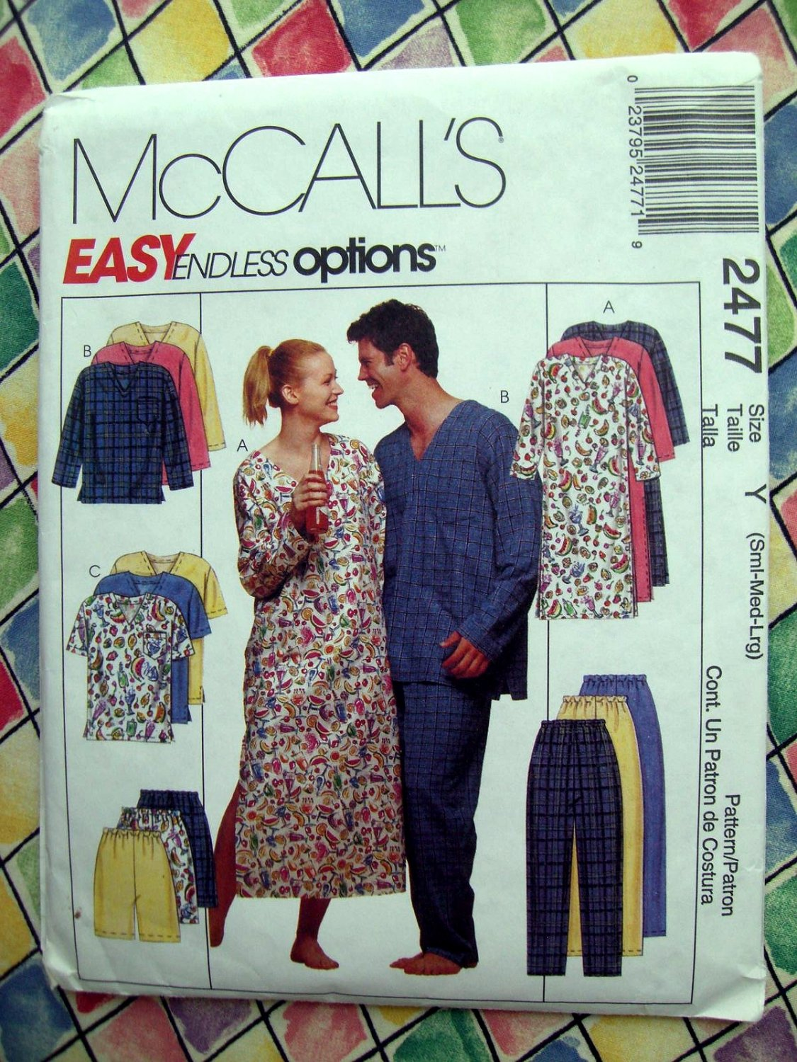 SOLD! McCalls Pattern # 2477 UNCUT Misses Mens Nightshirt Top Pants Shorts Size Small Medium Large