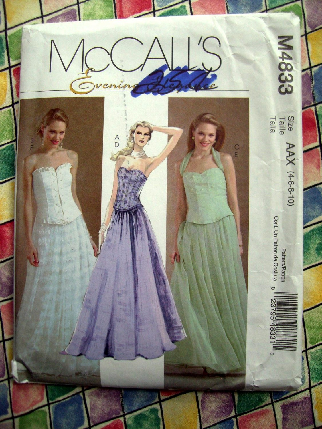 McCalls Pattern # 4833 UNCUT Misses Gown Special Occasion Long Skirt  Top Size 4 6 8 10