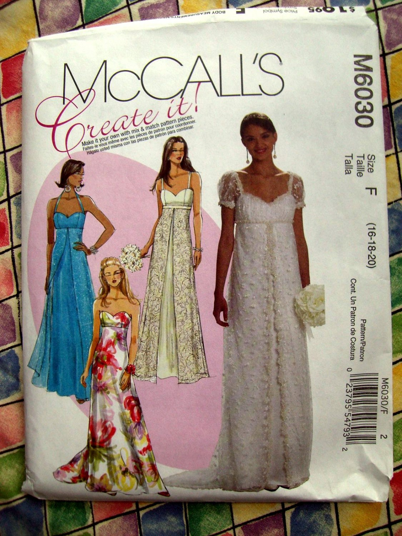 McCalls Pattern #M 6030 UNCUT Misses Empire Waist Long Dress / Gown Size 16 18 20