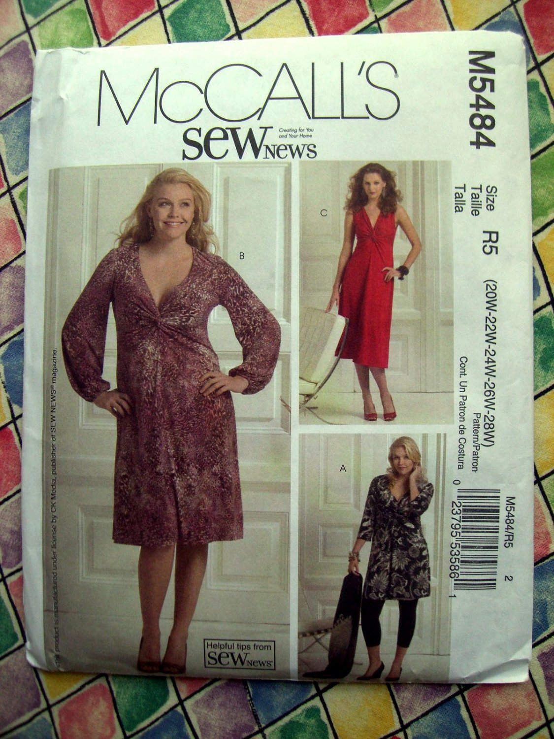 McCalls Pattern # 5484 UNCUT Womans Pullover Stretch Knit Dress  Size 20 22 24 26 28