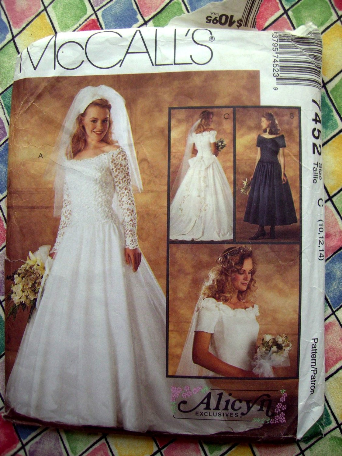 SOLD! McCalls Pattern # 7452 UNCUT Misses Bridal Gown Wedding Dress  Size 10 12 14