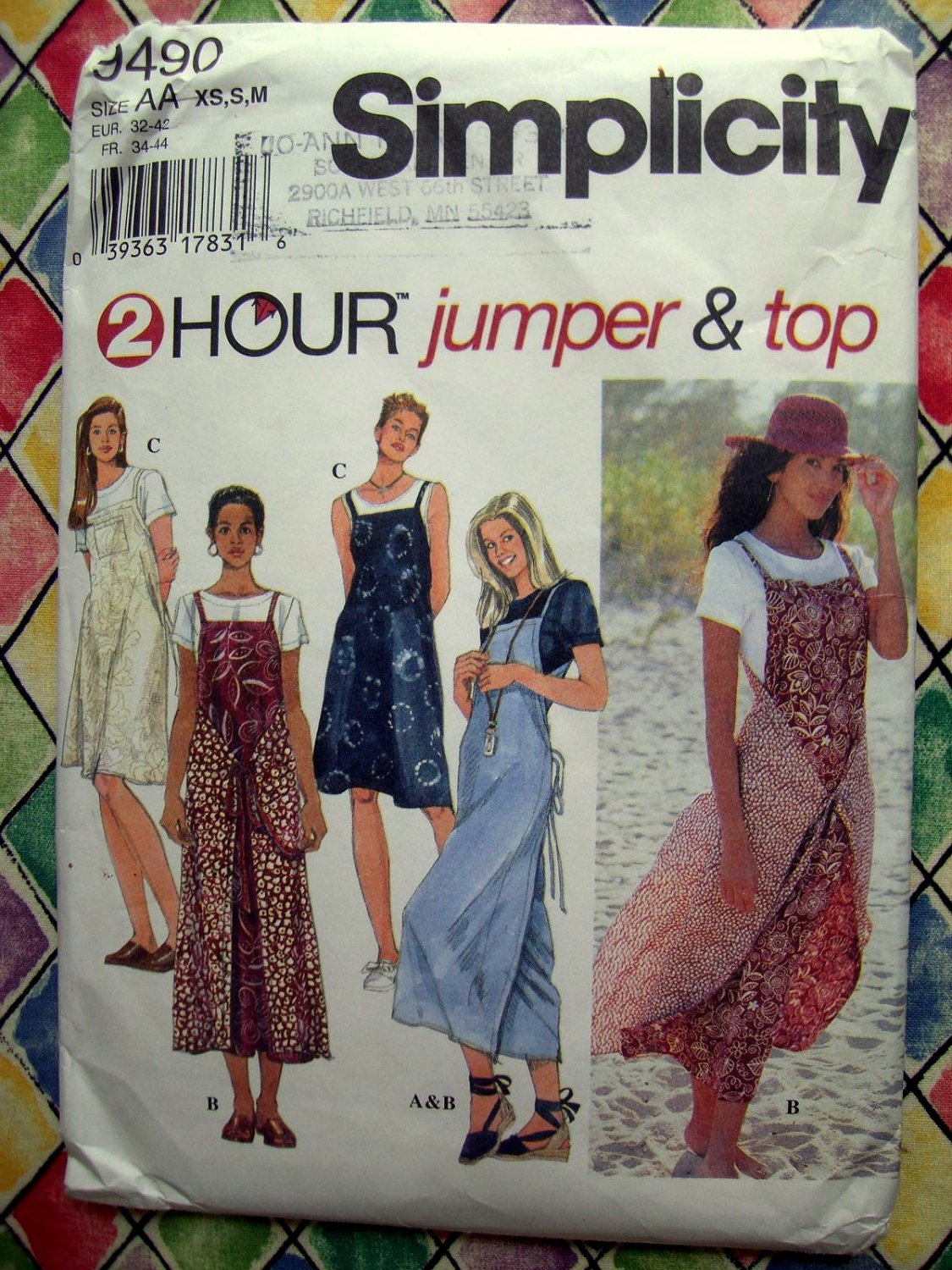 SOLD! Simplicity Pattern # 9490 UNCUT Misses Jumper Top Size XS Small Medium