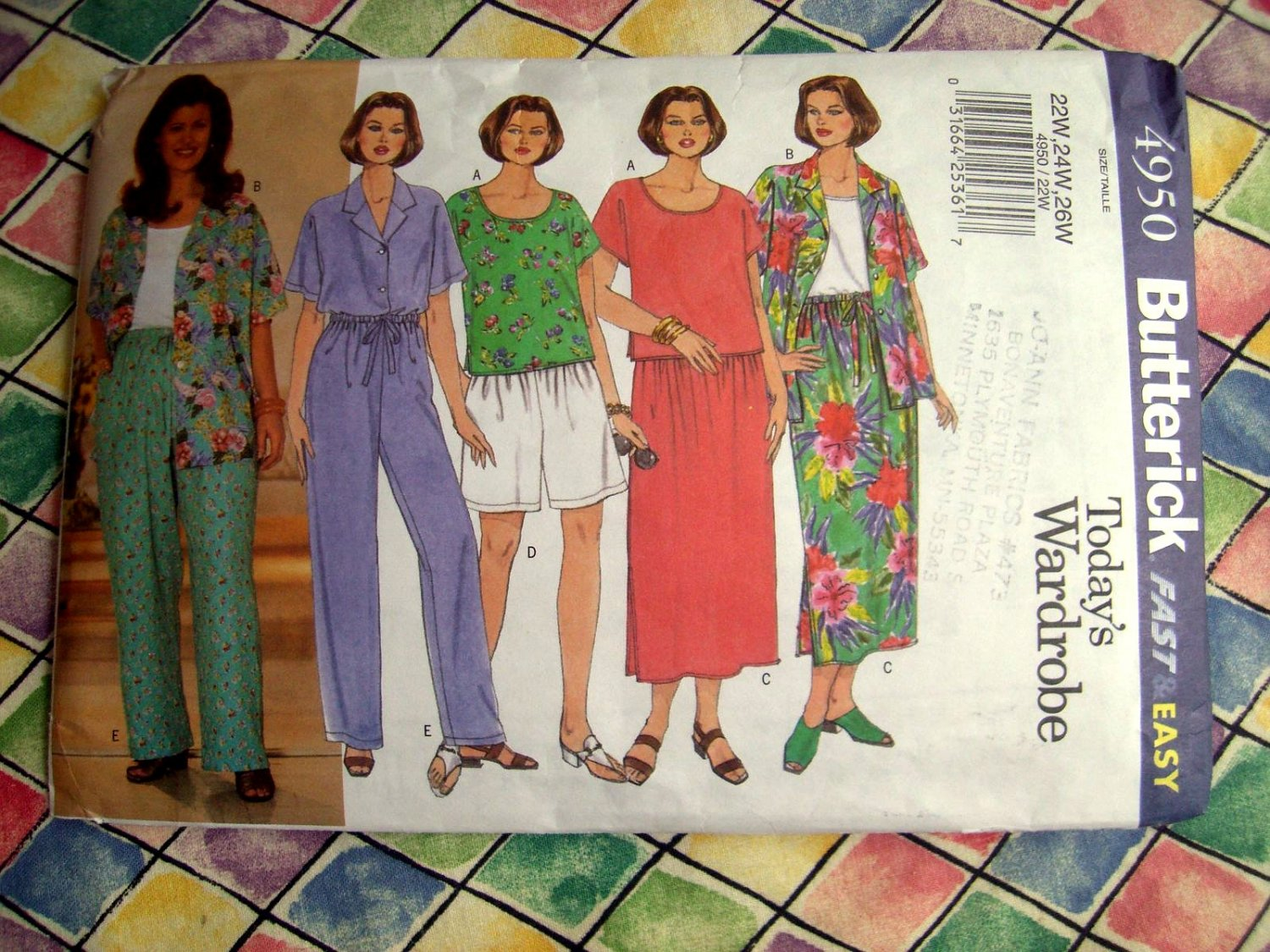 SOLD! Butterick Pattern # 4950 UNCUT Womans Top Shirt Skirt & Pants Size 22 24 26
