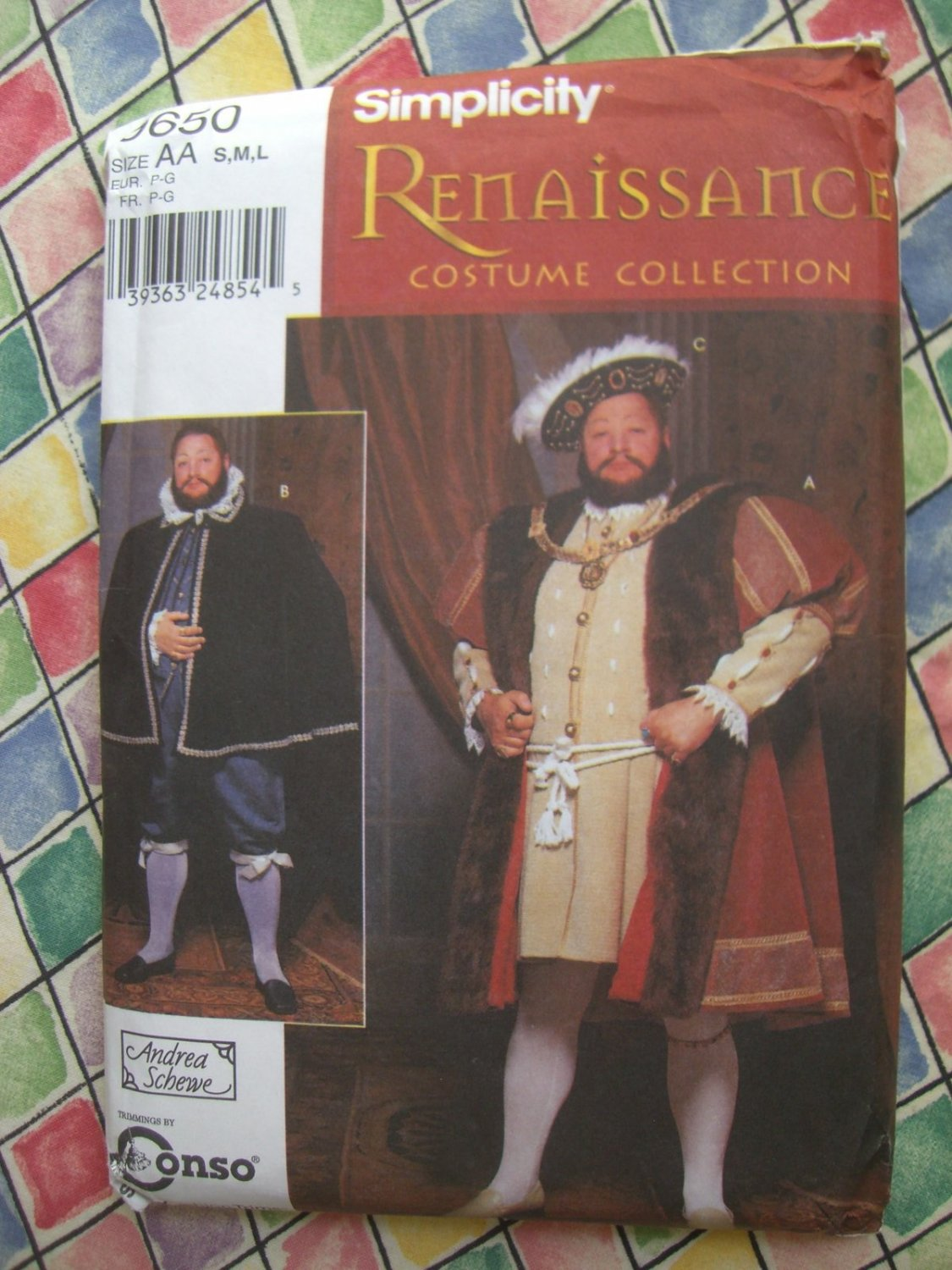 SOLD! Simplicity Pattern #9650 UNCUT Mens Costume Henry the VIII / 8th Size Small Medium Large