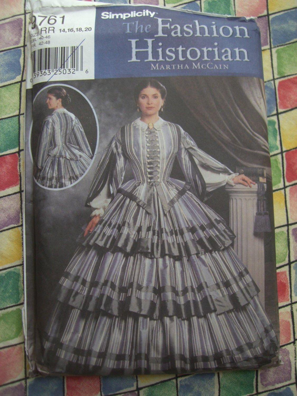 SOLD! Simplicity Costume Pattern # 9761 UNCUT Misses Civil War Dress Size 14 16 18 20
