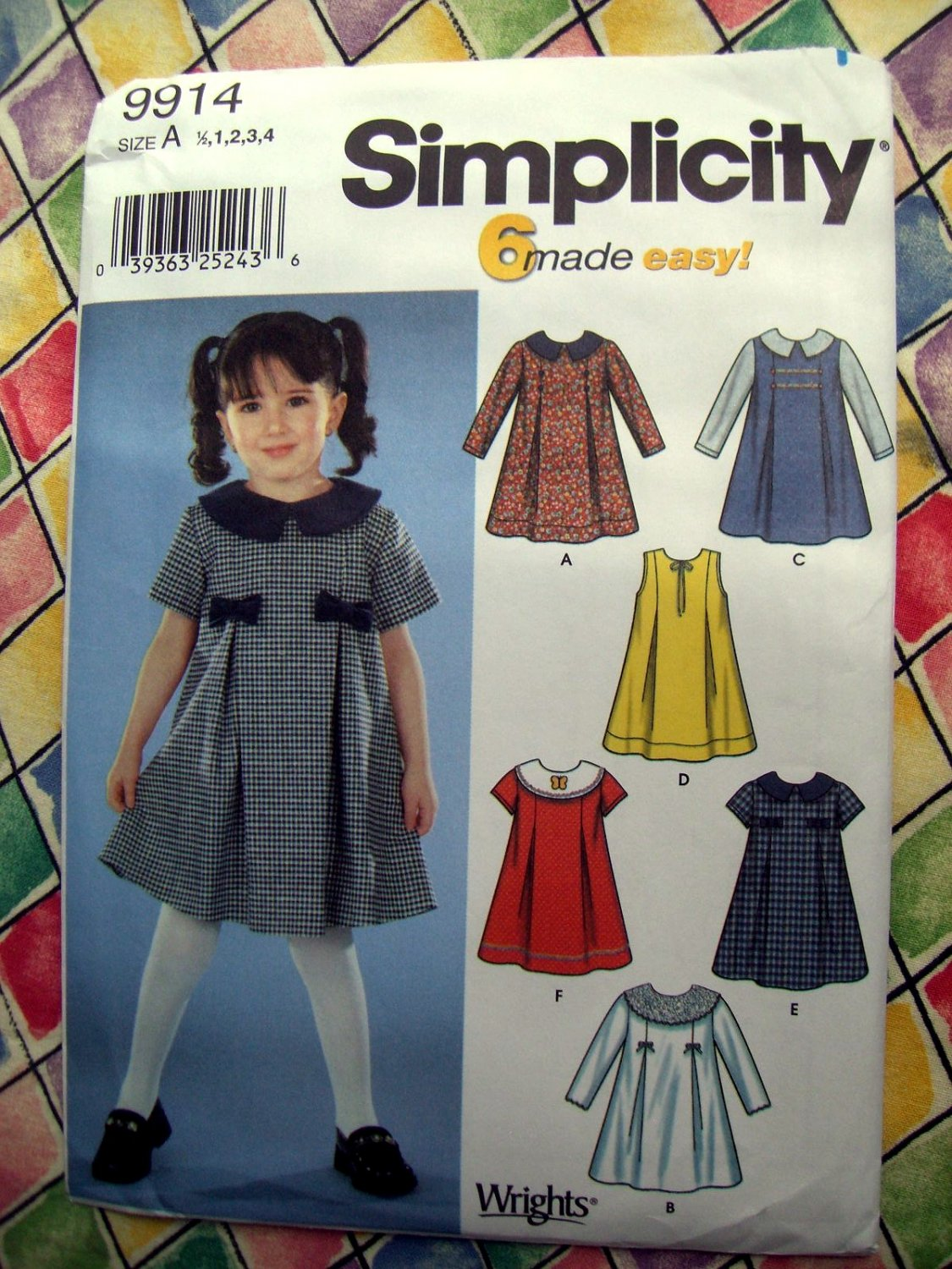 Simplicity Pattern # 9914 UNCUT Toddlers' Dress Variations Size 1/2 1 2 3 4