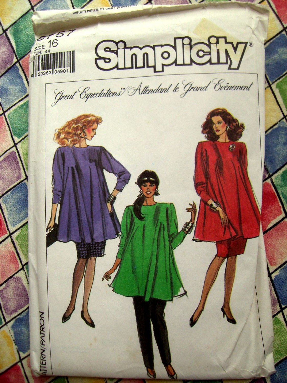 Simplicity Pattern # 8757 UNCUT Maternity Woman's Top Pants Size 16