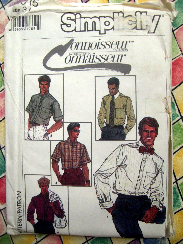 "Simplicity Pattern # 7015 UNCUT Mens Shirt Small Size 34"" Chest"