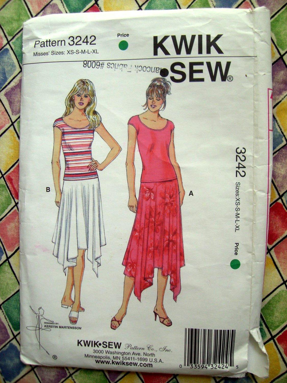SOLD!  Kwik Sew Pattern # 3242 UNCUT Handkerchief Skirt and Top Size XS Small Medium Large XL