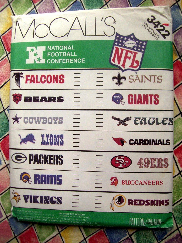 SOLD! McCalls Pattern # 3422 UNCUT NFL Football Applique Transfer Logos Names ALL 14 teams