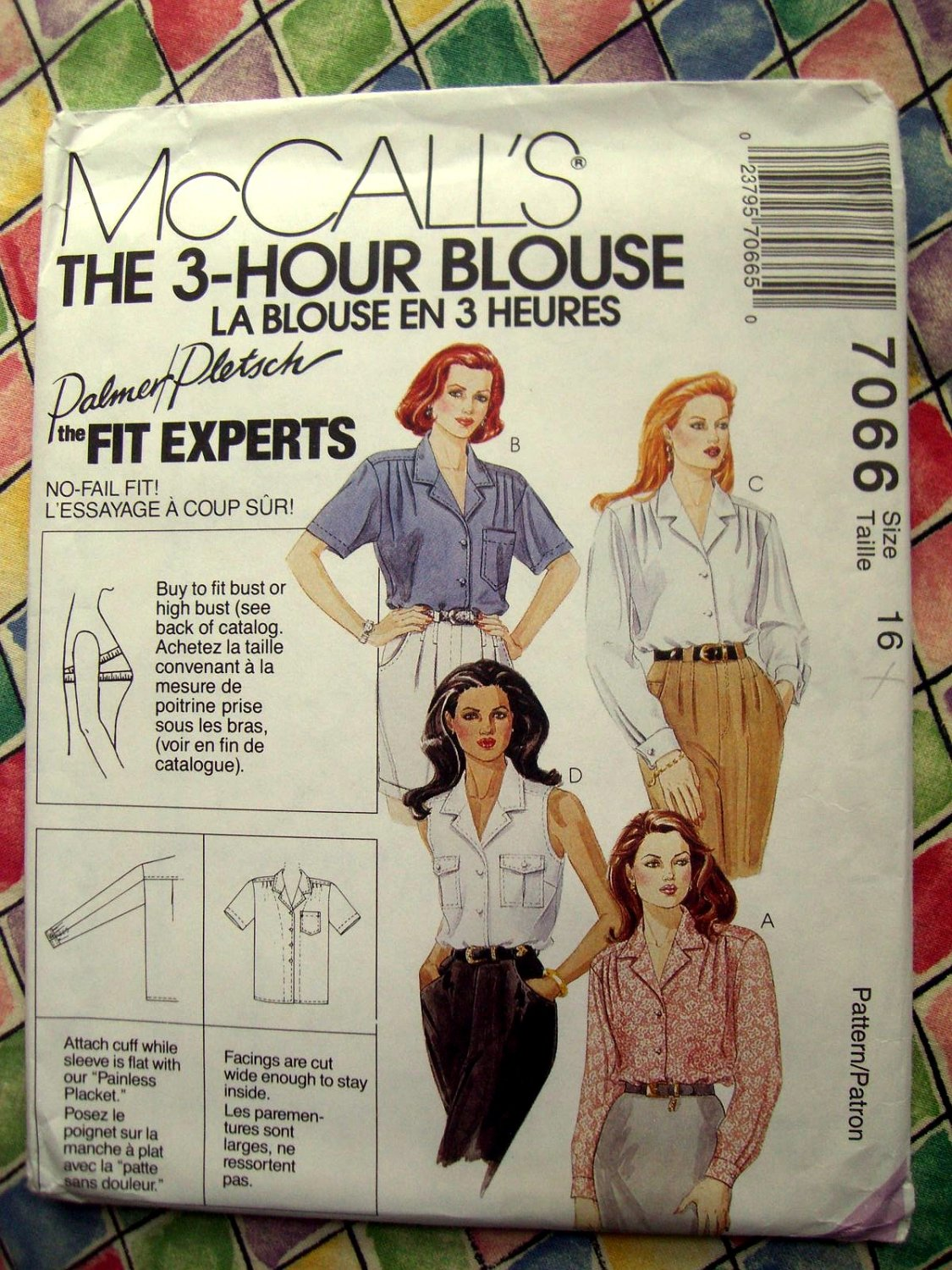 SOLD! McCalls Pattern # 7066 UNCUT Misses 3 Hour Blouse Size 16