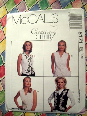 McCall's # 7914 Easy Pattern  Misses VESTS VEST Two Lengths Size 10 12 14