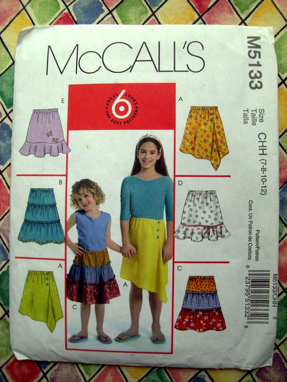 McCalls Pattern # 5133 UNCUT Girls SKIRT Size 7 8 10 12