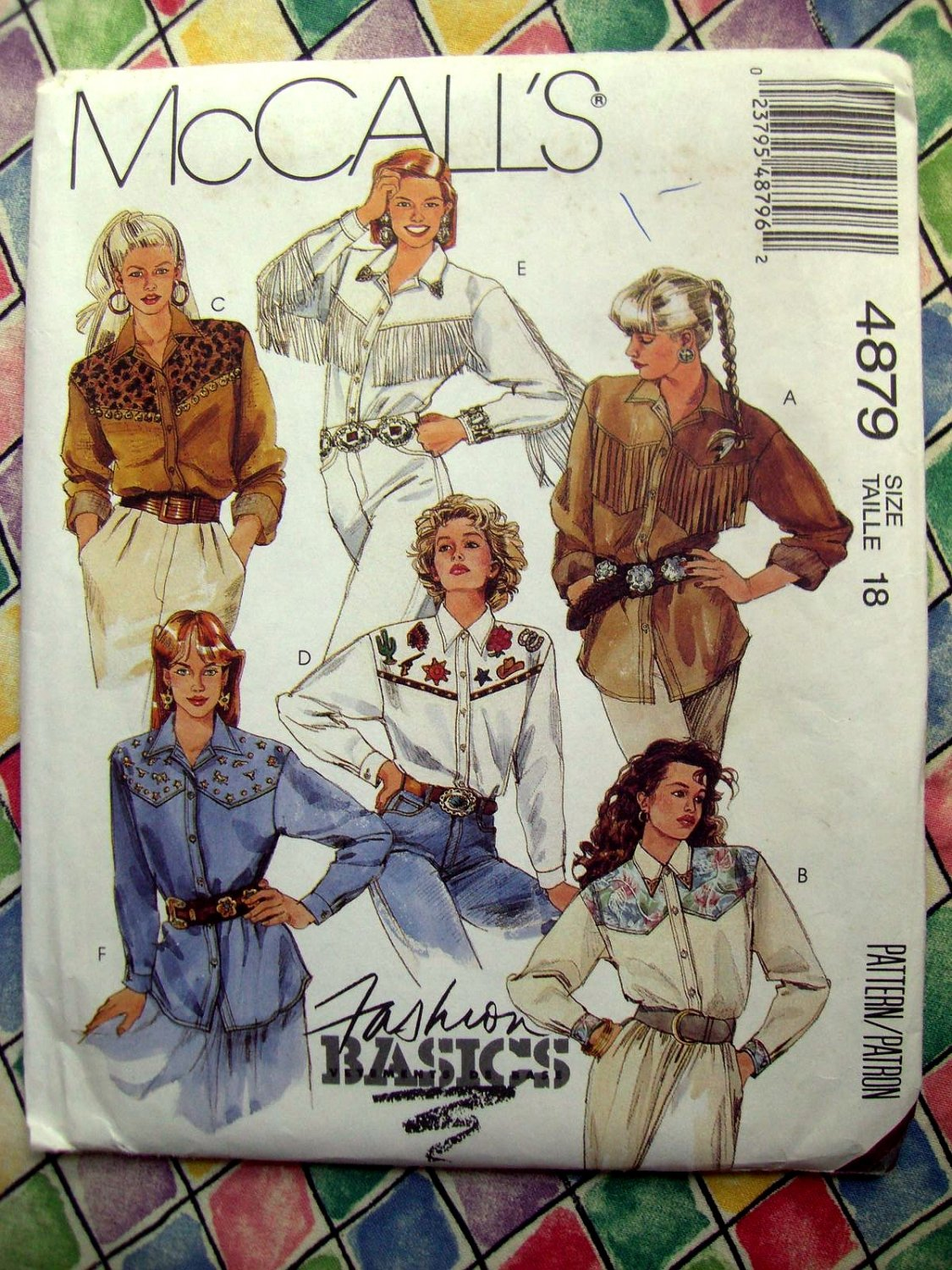 SOLD! McCalls Pattern # 4879 Misses Fringed Shirt & Western Shirt Size 18