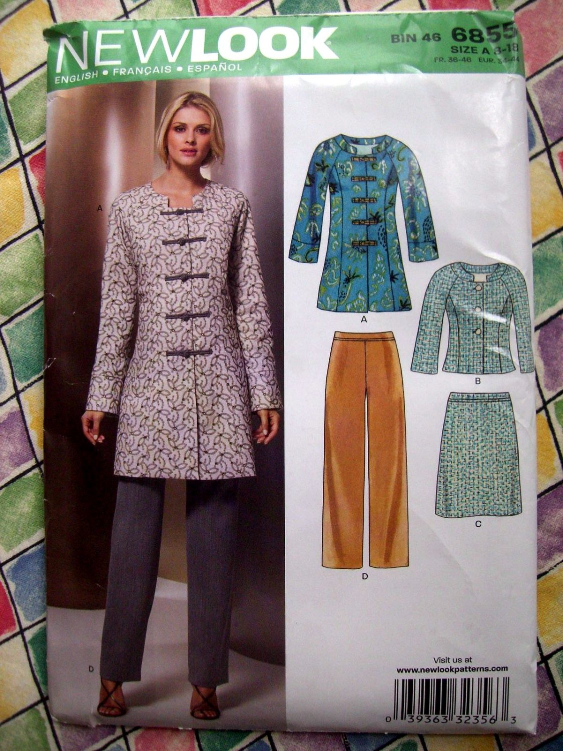 New Look Pattern # 6855 UNCUT Misses Tunic Blazer Pants Skirt Size 8 10 12 14 16 18