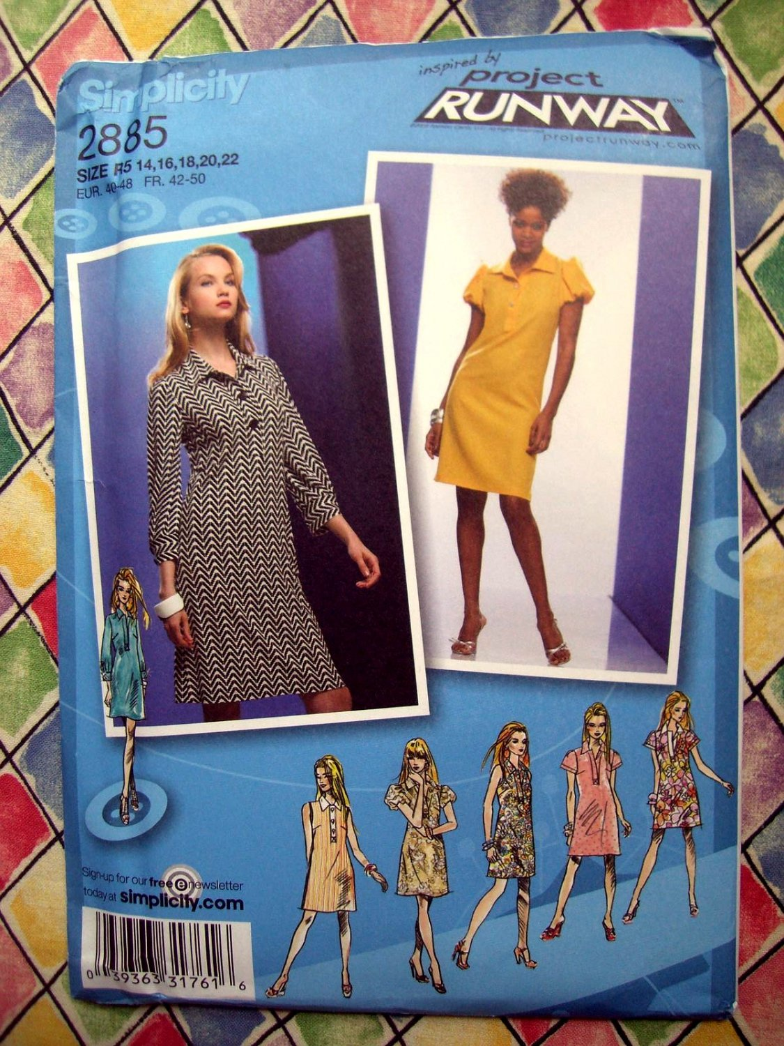 SOLD! Project Runway Simplicity Pattern # 2885 Womans Pullover Dress Top Size 12 14 16 20 22