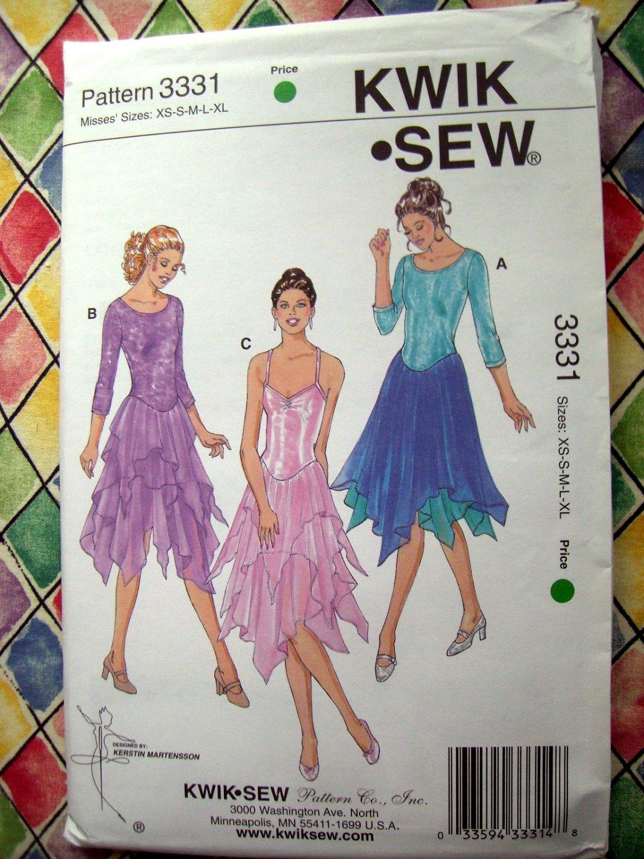 Kwik Sew Pattern # 3331 UNCUT Misses Leotard Handkerchief Shirts Size XS Small Medium Large XL
