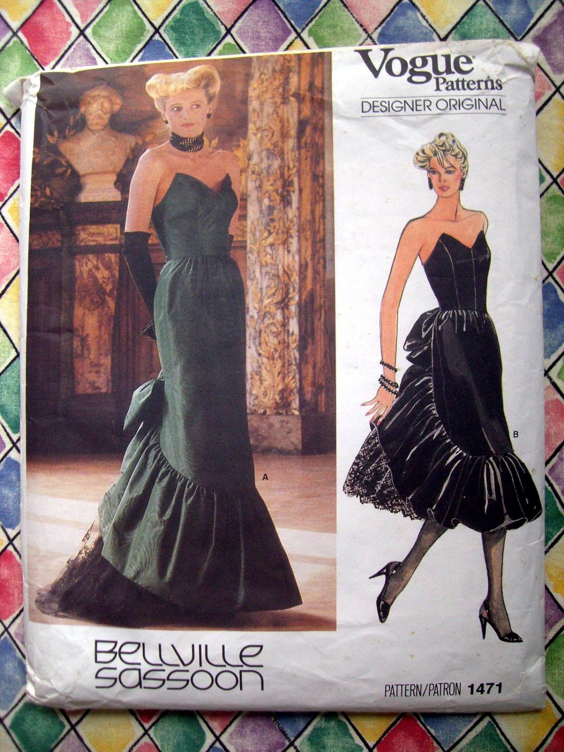 SOLD! Rare Vogue Pattern # 1471 UNCUT Misses Special Occasion Strapless Gown Dress Size 16