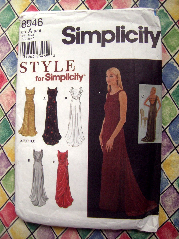 SOLD! Simplicity Pattern # 8946 UNCUT Misses Gown Formal Dress Size 8 10 12 14 16 18