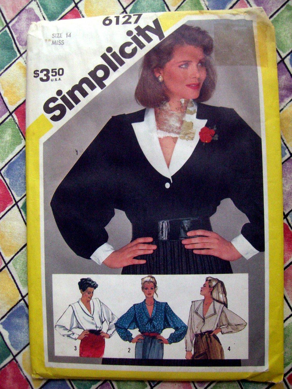 SOLD! Simplicity Pattern #6127 UNCUT Misses Blouse Size