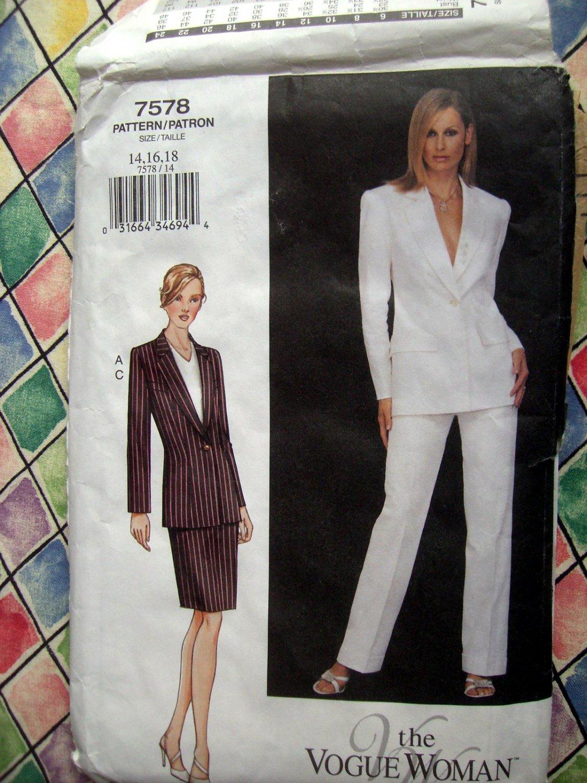 SOLD! Vogue Pattern # 7578 UNCUT Misses Jacket Skirt Pants Pencil  Size 14 16 18