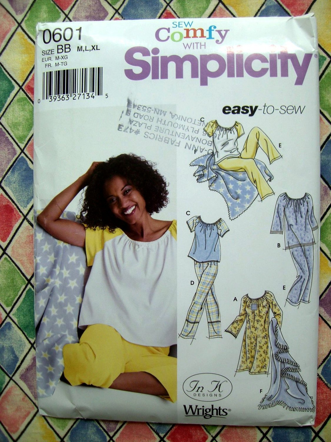 Simplicity Pattern # 0601 UNCUT Misses Pajamas ~ Tops Pants ~ Nightgown Size Medium Large and XL.