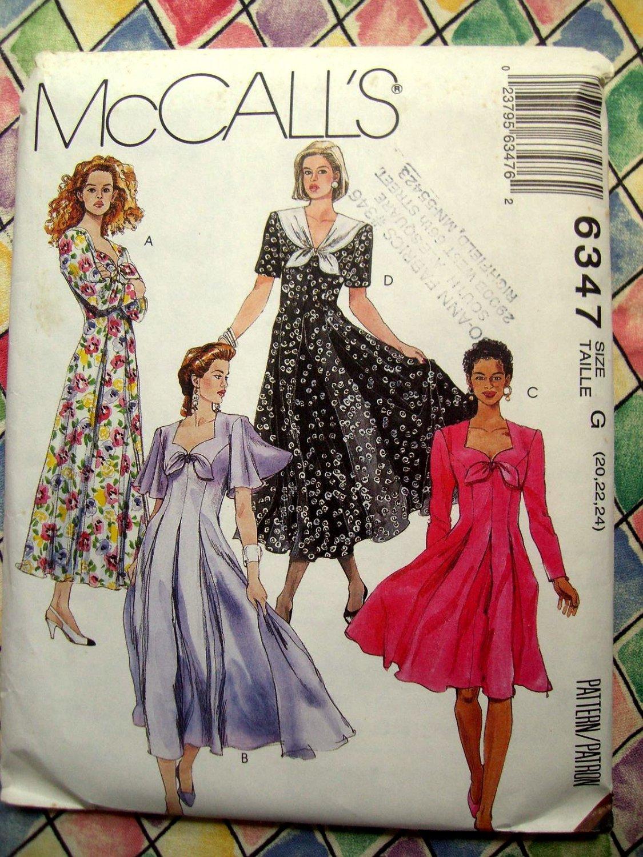 SOLD! McCalls Pattern # 6347 UNCUT Misses Dress Two Lengths Sizee 20 22 24