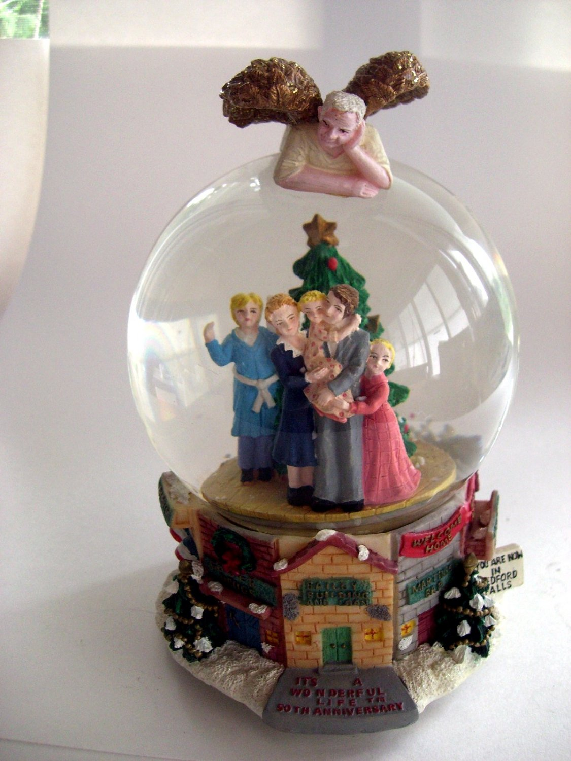 SOLD!Rare It's A Wonderful Life Snowglobe Clarence Angel & Bailey Family Music Box