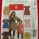 McCalls Pattern # 5458 UNCUT Girls Top and Dress Size 7 8 10 12 14