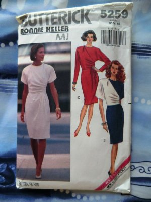 Butterick Pattern # 5259 UNCUT Misses Dress Size 12 14 16