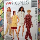 McCall's # 8186 UNCUT Misses Pattern  Unlined Jacket Pull-On Pants & Shorts Size 8 10 12