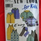 New Look Pattern # 6659 UNCUT Kids Jacket Vest Romper Scarf Size 1/2 , 1, 2, 3 and 4
