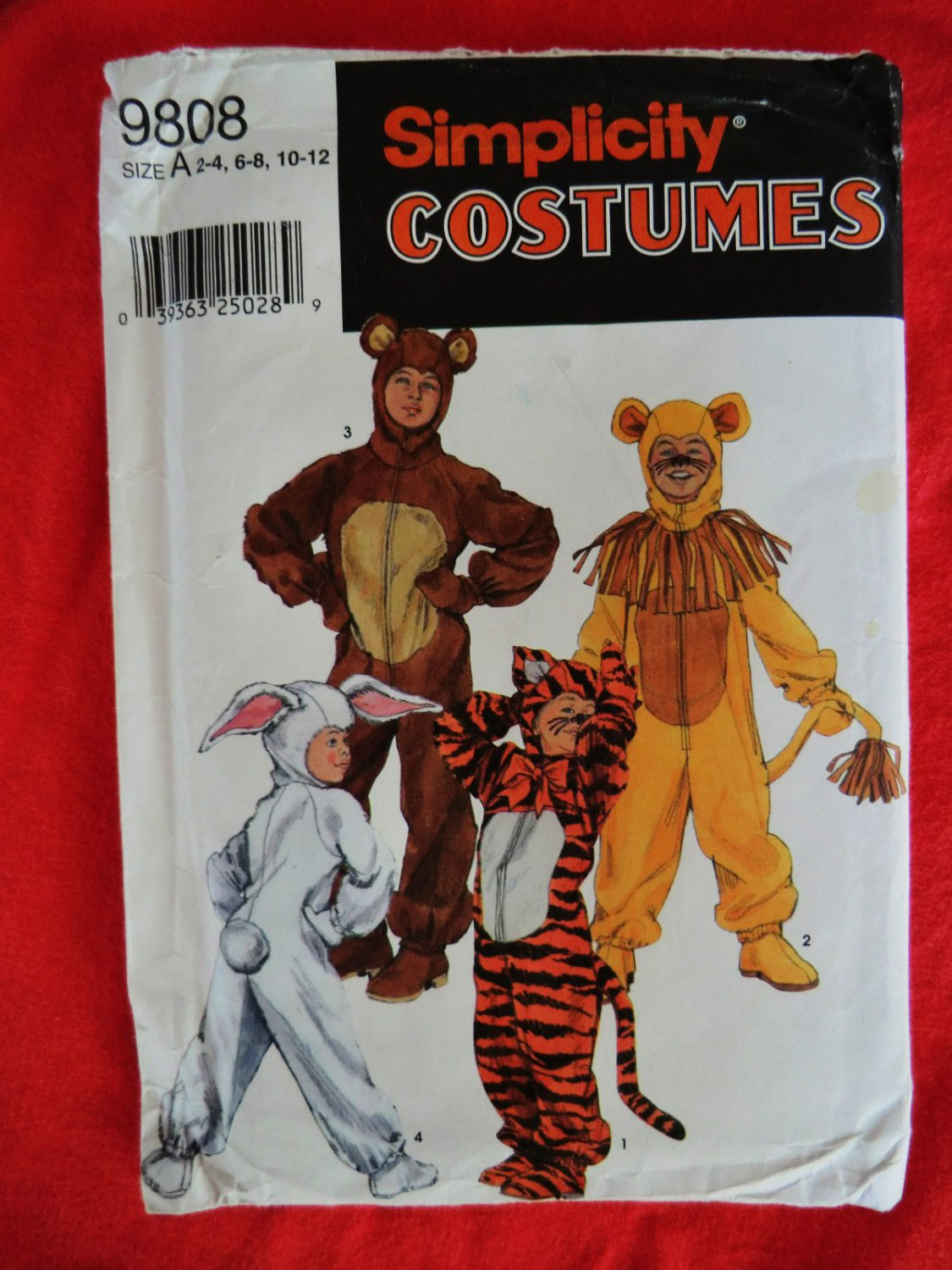 Simplicity Pattern # 9808 UNCUT Bear Tiger  Lion Bunny Kids Halloween Costume  Size 2 4 6 8 10 12