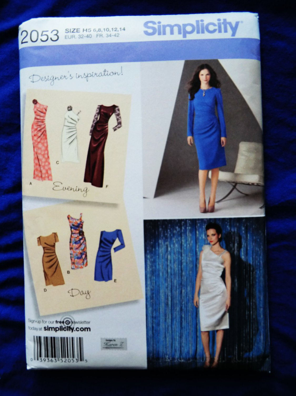 Simplicity Pattern # 2053 UNCUT Misses Gown Dress Size 6 8 10 12 14