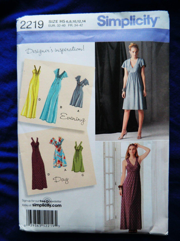 Simplicity Pattern # 2219 UNCUT Misses KNIT Dress Gown Size 6 8 10 12 14