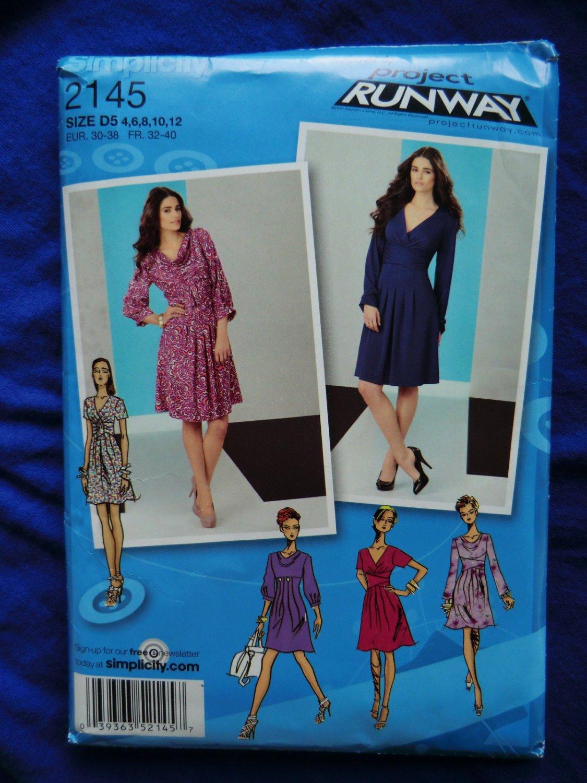 Simplicity Project Runway Pattern # 2145 UNCUT Misses Dress Size 4 6 8 10 12