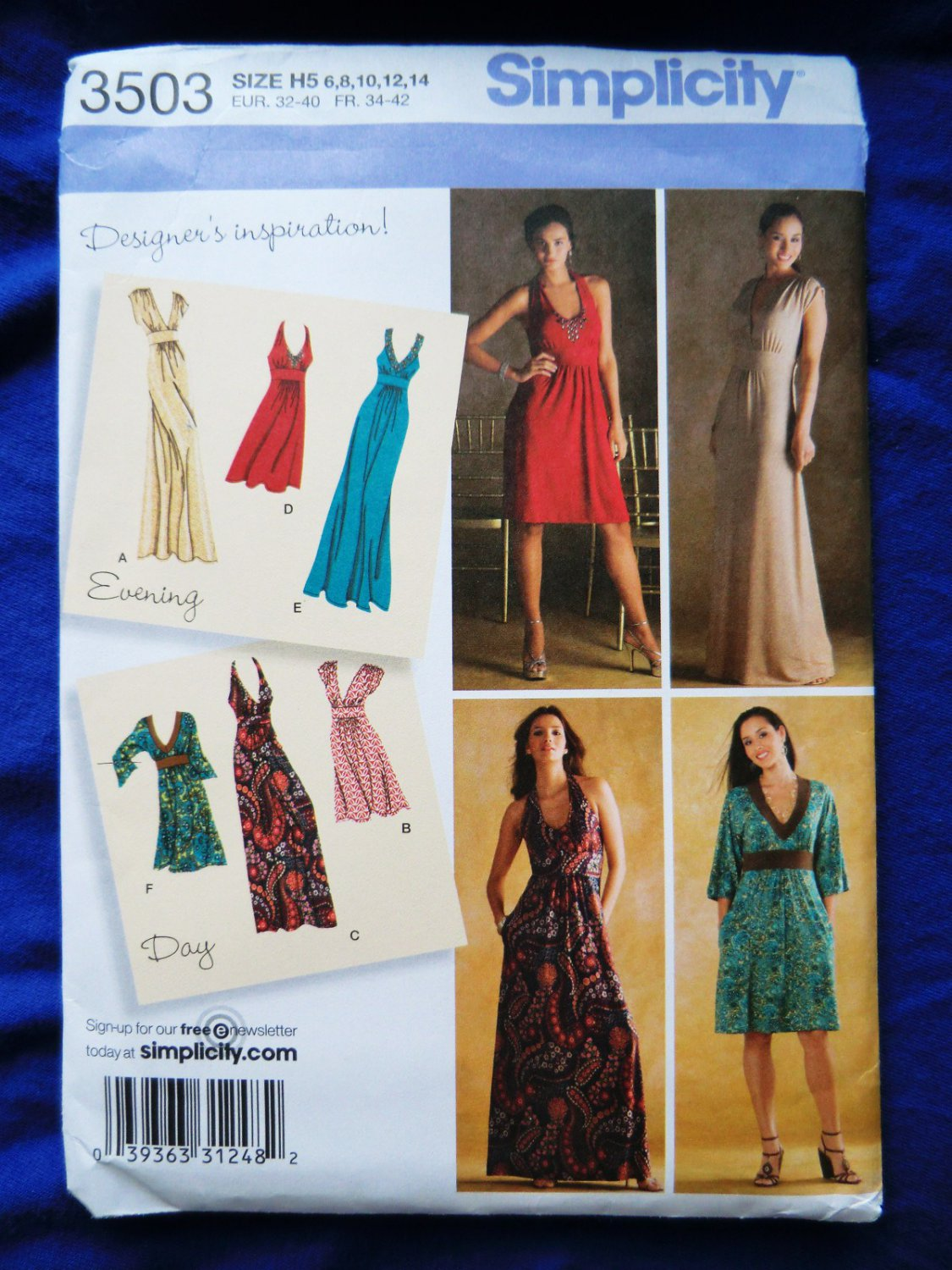 Simplicity Pattern # 3503 UNCUT Misses Knit Gown Dress Size 6 8 10 12 14