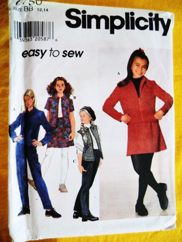 Simplicity Pattern # 7750 UNCUT Girls Jacket Vest Skirt Pants Size 12 14